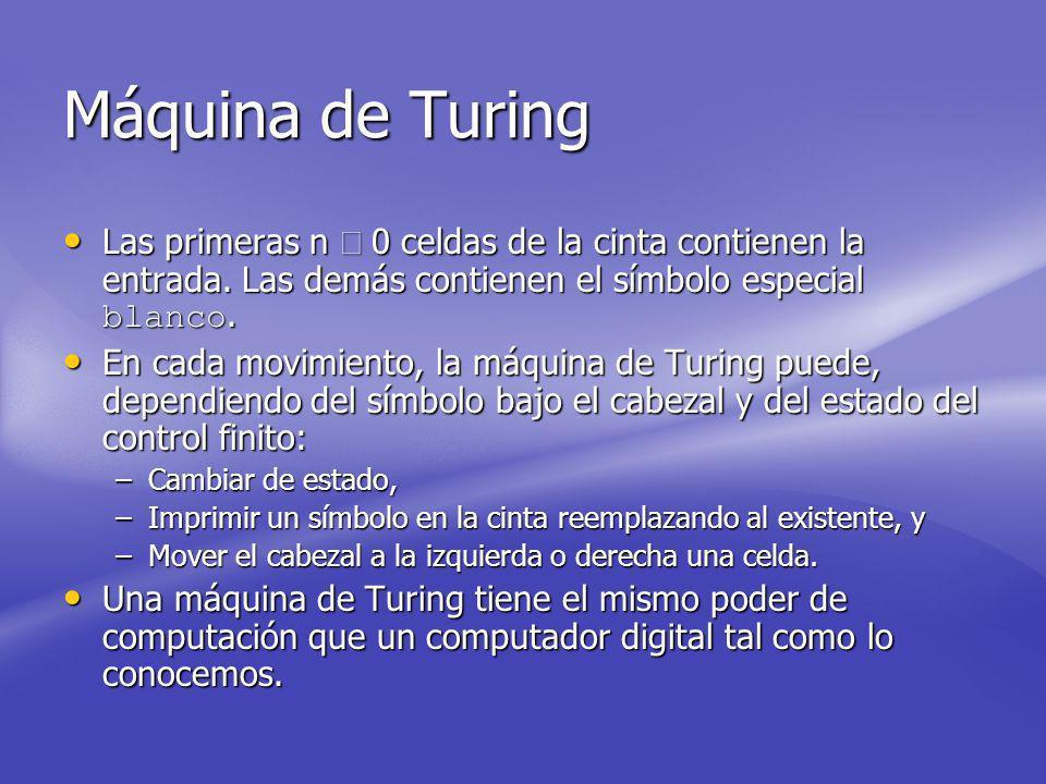 Máquina de Turing Las primeras n ³ 0 celdas de la cinta contienen la entrada. Las demás contienen el símbolo especial blanco.