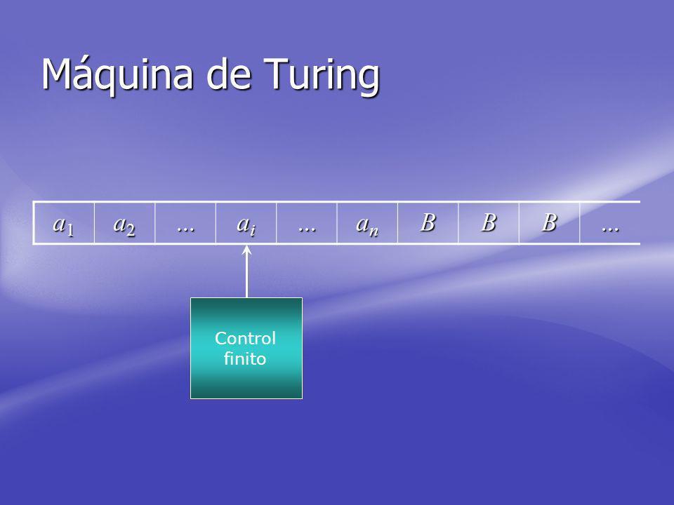 Máquina de Turing a1 a2 ... ai an B Control finito
