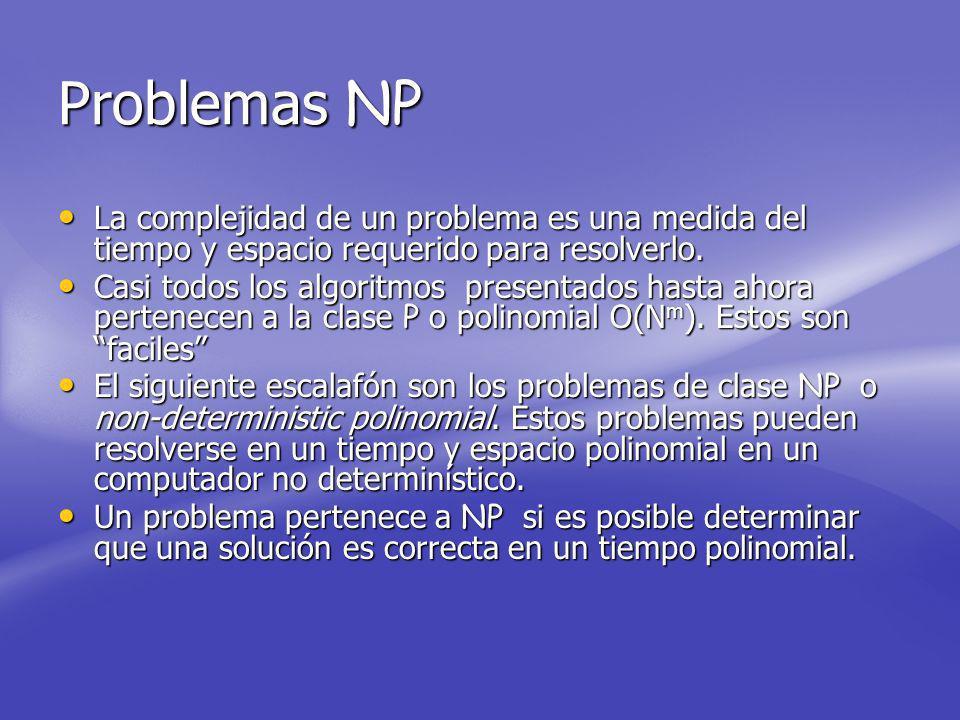 Problemas NP La complejidad de un problema es una medida del tiempo y espacio requerido para resolverlo.