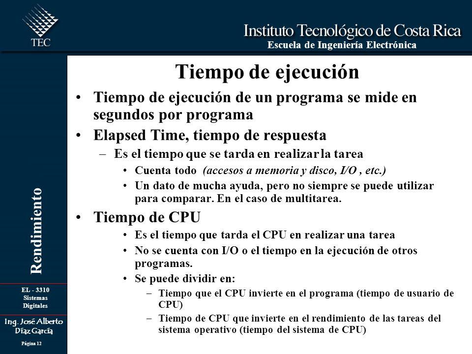 Tiempo de ejecución Tiempo de ejecución de un programa se mide en segundos por programa. Elapsed Time, tiempo de respuesta.