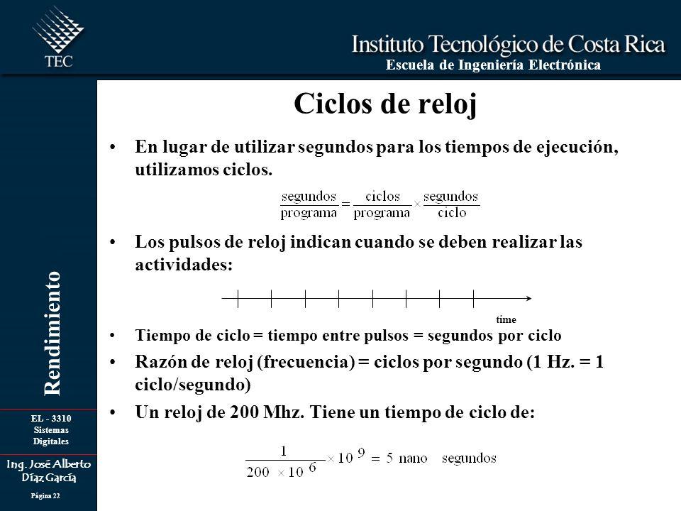 Ciclos de reloj En lugar de utilizar segundos para los tiempos de ejecución, utilizamos ciclos.