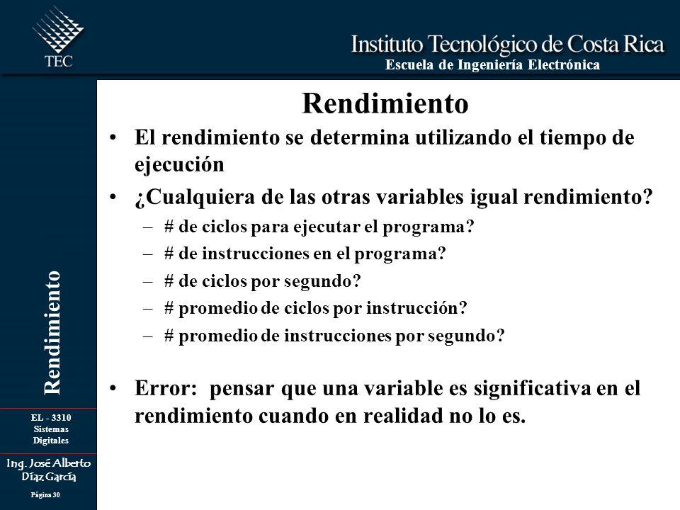 Rendimiento El rendimiento se determina utilizando el tiempo de ejecución. ¿Cualquiera de las otras variables igual rendimiento
