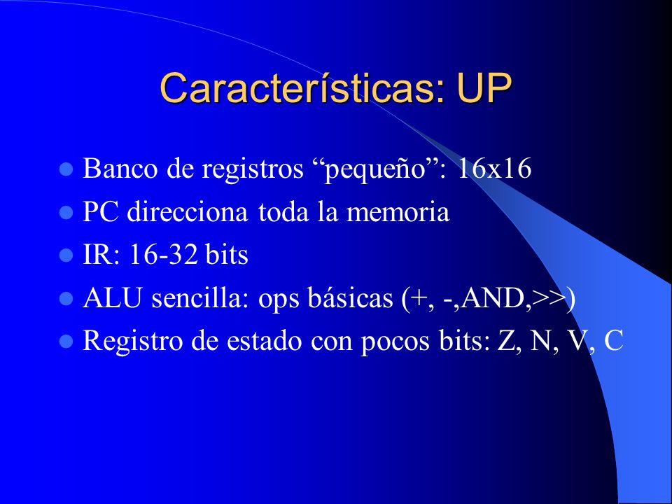 Características: UP Banco de registros pequeño : 16x16