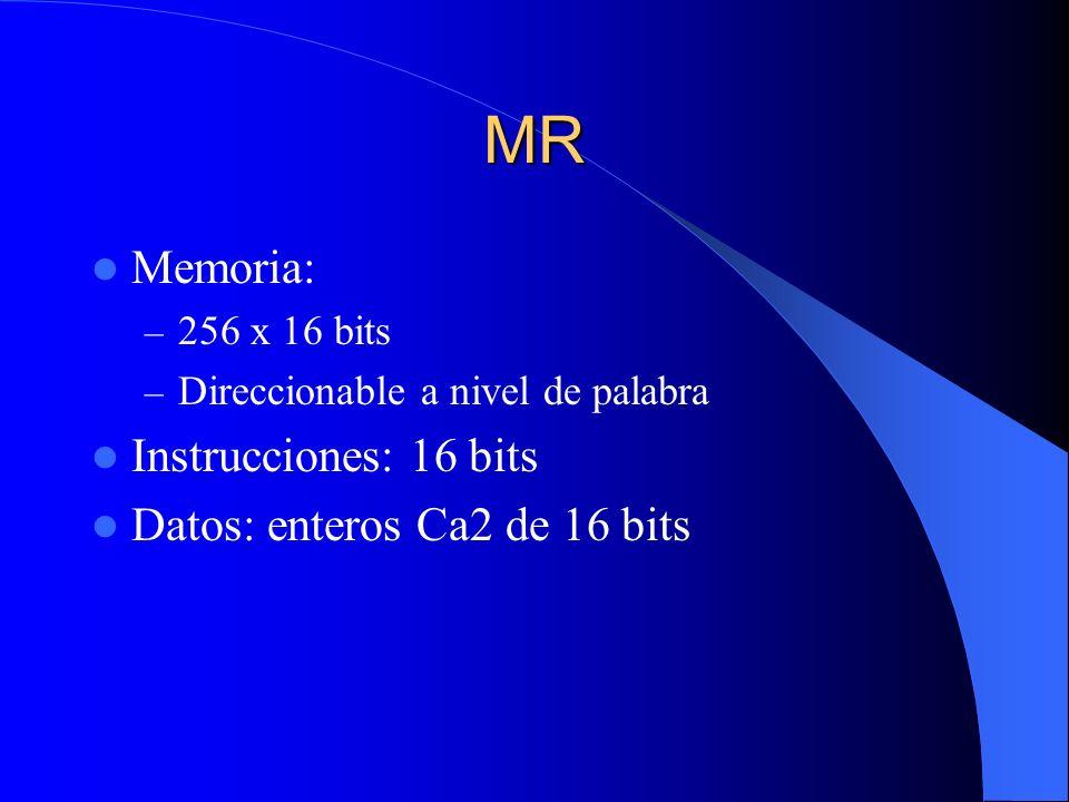 MR Memoria: Instrucciones: 16 bits Datos: enteros Ca2 de 16 bits