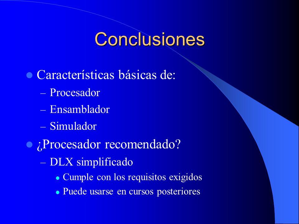 Conclusiones Características básicas de: ¿Procesador recomendado