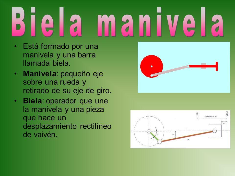 Biela manivela Está formado por una manivela y una barra llamada biela. Manivela: pequeño eje sobre una rueda y retirado de su eje de giro.
