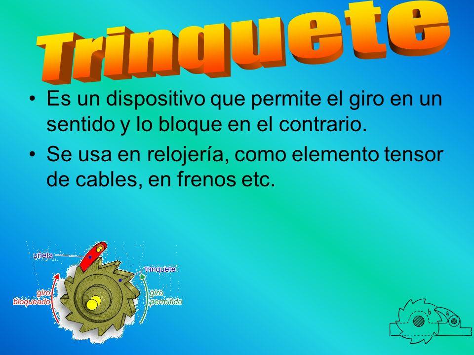 Trinquete Es un dispositivo que permite el giro en un sentido y lo bloque en el contrario.