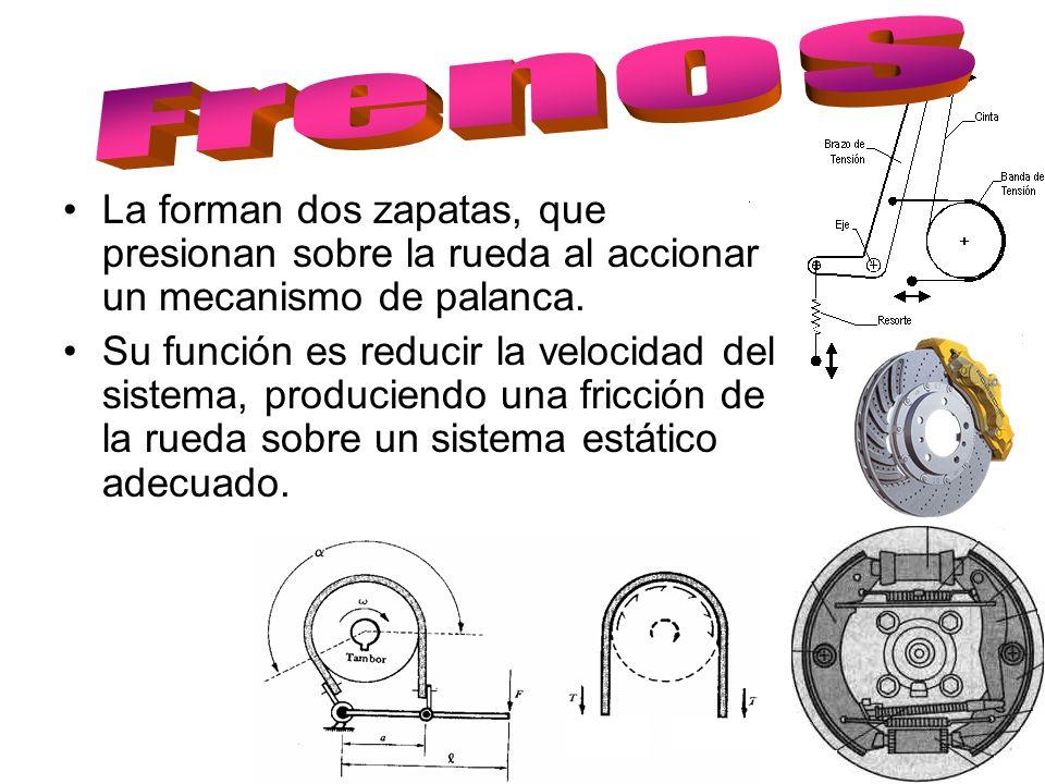 Frenos La forman dos zapatas, que presionan sobre la rueda al accionar un mecanismo de palanca.