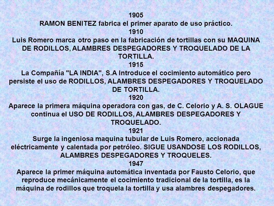 RAMON BENITEZ fabrica el primer aparato de uso práctico.