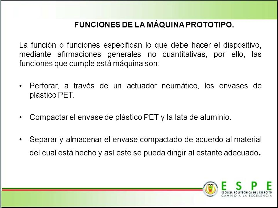 FUNCIONES DE LA MÁQUINA PROTOTIPO.