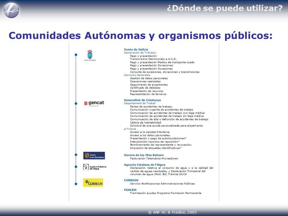 Comunidades Autónomas y organismos públicos: