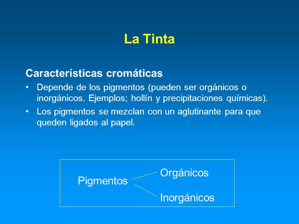 La Tinta Características cromáticas Orgánicos Pigmentos Inorgánicos