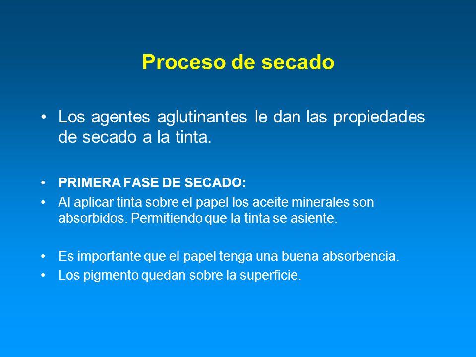 Proceso de secado Los agentes aglutinantes le dan las propiedades de secado a la tinta. PRIMERA FASE DE SECADO: