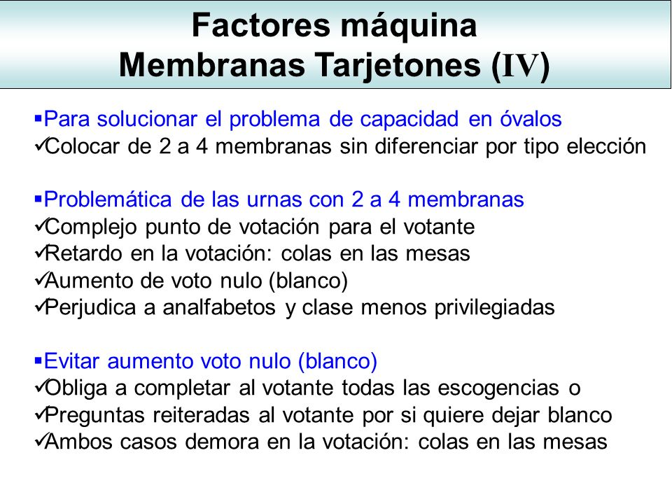 Membranas Tarjetones (IV)