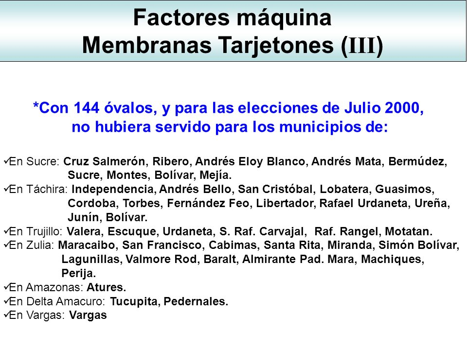 Membranas Tarjetones (III)