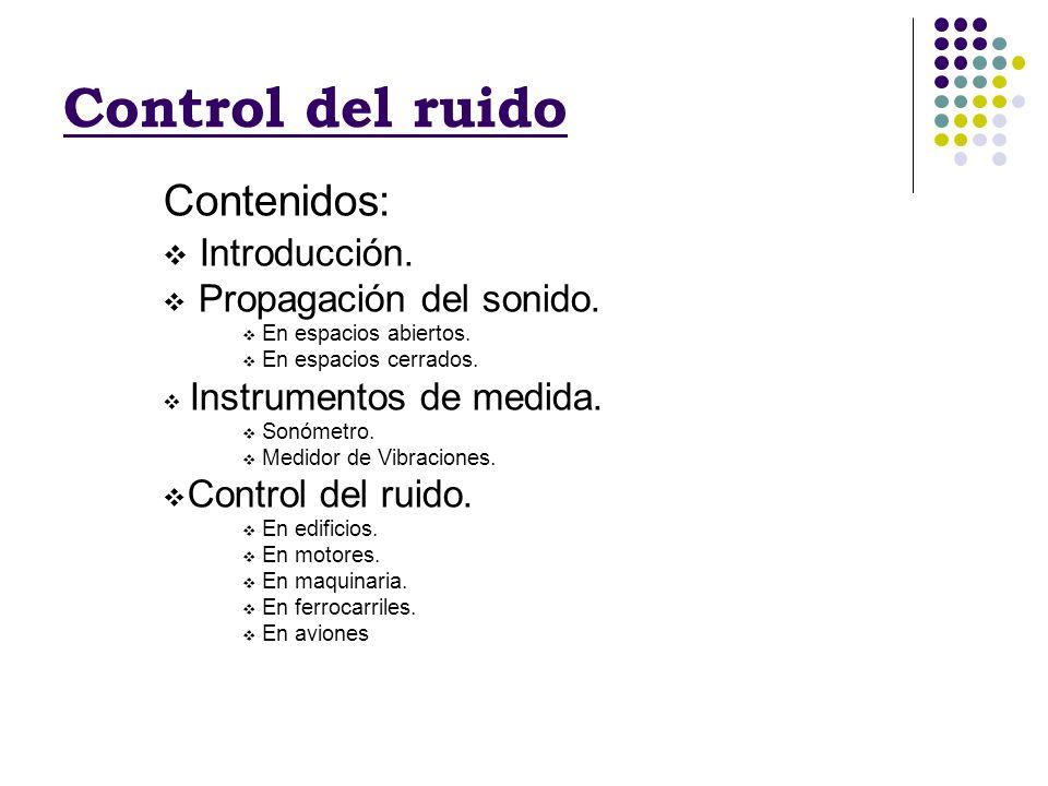 Control del ruido Contenidos: Introducción. Propagación del sonido.