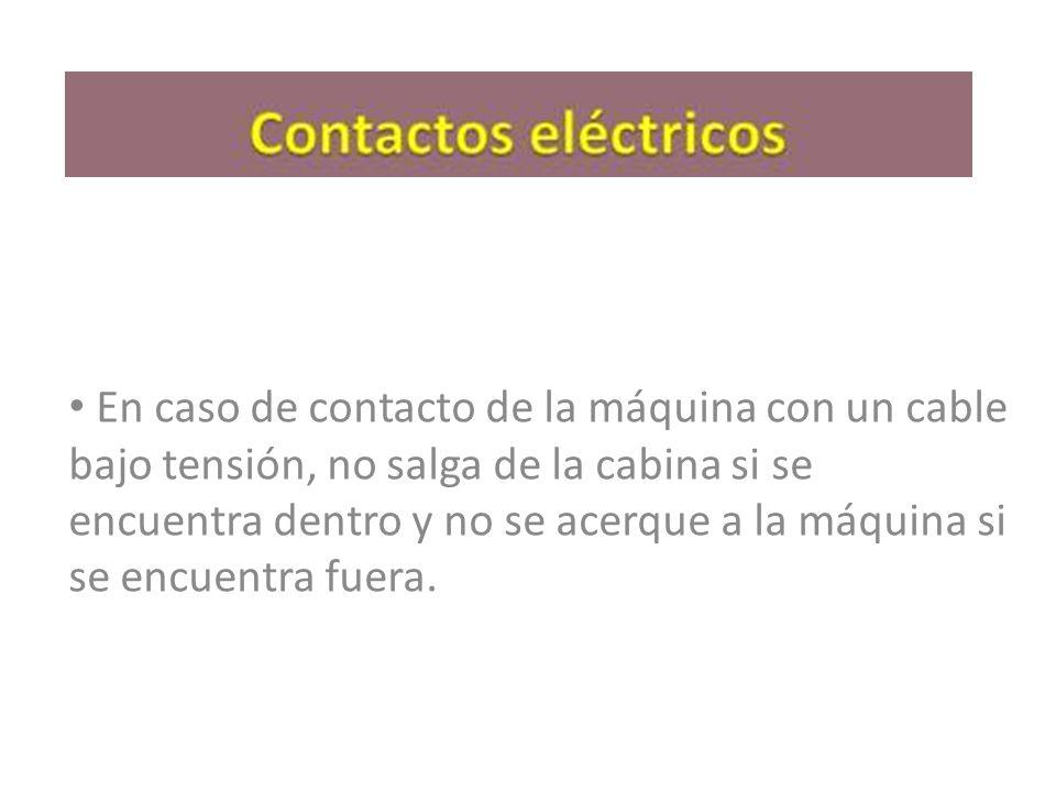 En caso de contacto de la máquina con un cable bajo tensión, no salga de la cabina si se encuentra dentro y no se acerque a la máquina si se encuentra fuera.