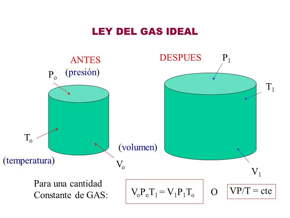 LEY DEL GAS IDEALDESPUES. P1. ANTES. (presión) Po. T1. To. (volumen) (temperatura) Vo. V1. Para una cantidad.