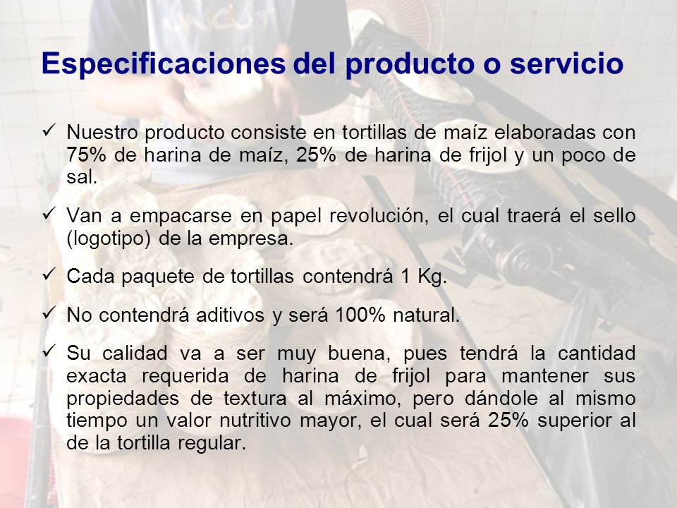 Especificaciones del producto o servicio