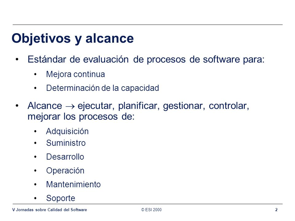 Objetivos y alcance ISO/IEC 15504 intended for a wide range of software environments. Acquisition.