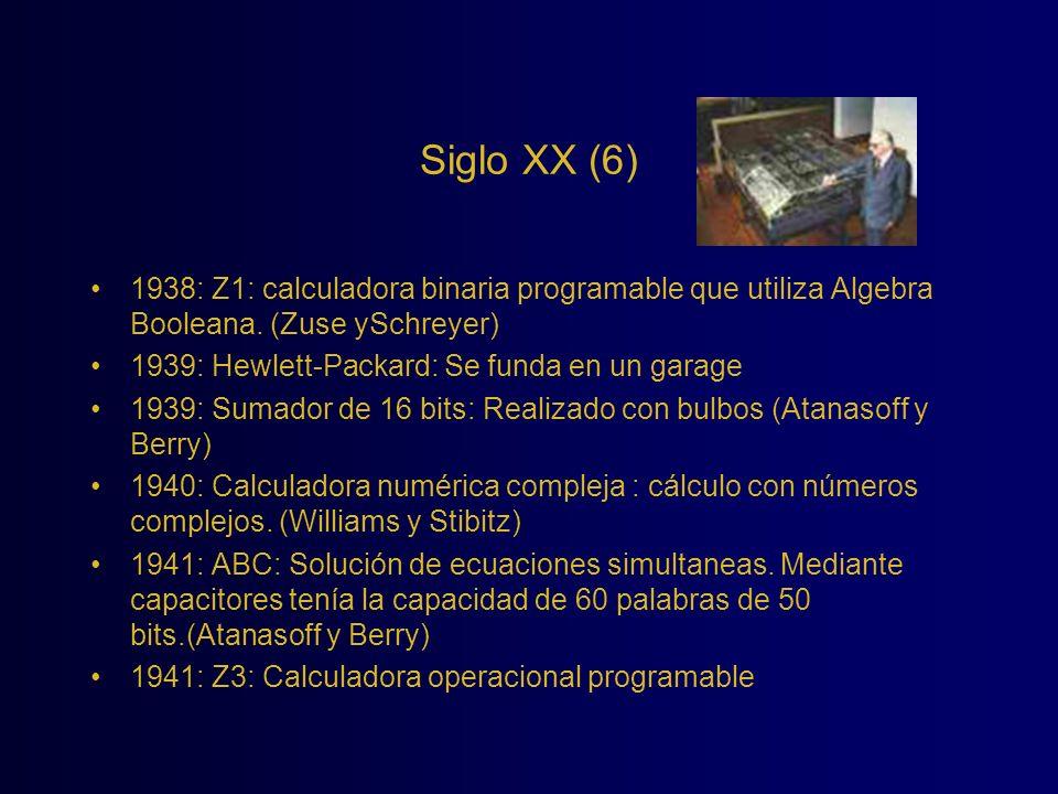 Siglo XX (6) 1938: Z1: calculadora binaria programable que utiliza Algebra Booleana. (Zuse ySchreyer)