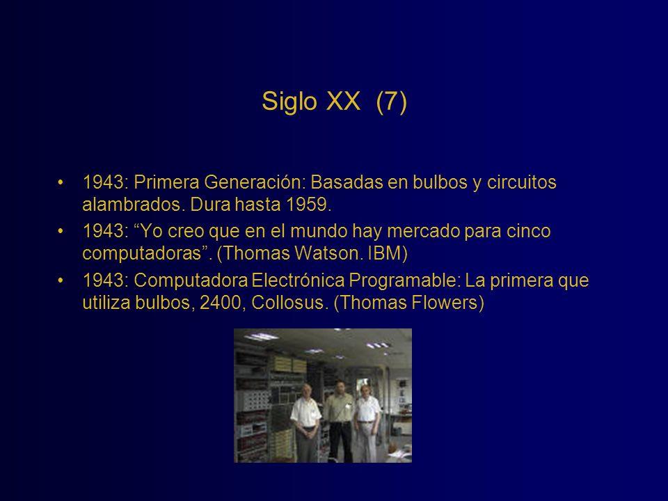 Siglo XX (7) 1943: Primera Generación: Basadas en bulbos y circuitos alambrados. Dura hasta 1959.