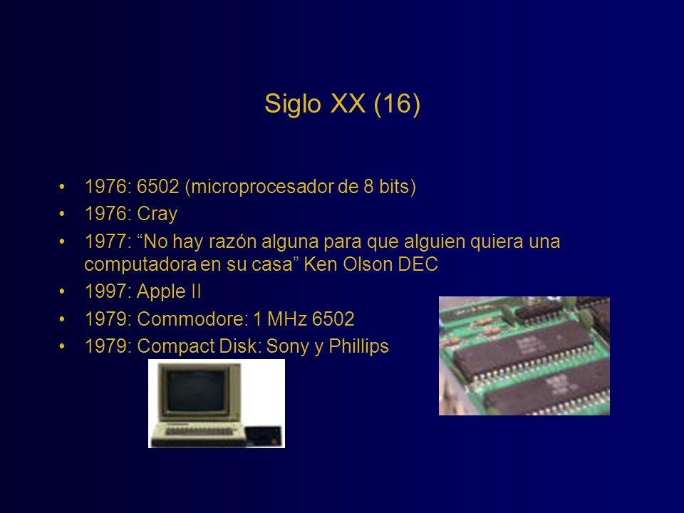 Siglo XX (16) 1976: 6502 (microprocesador de 8 bits) 1976: Cray