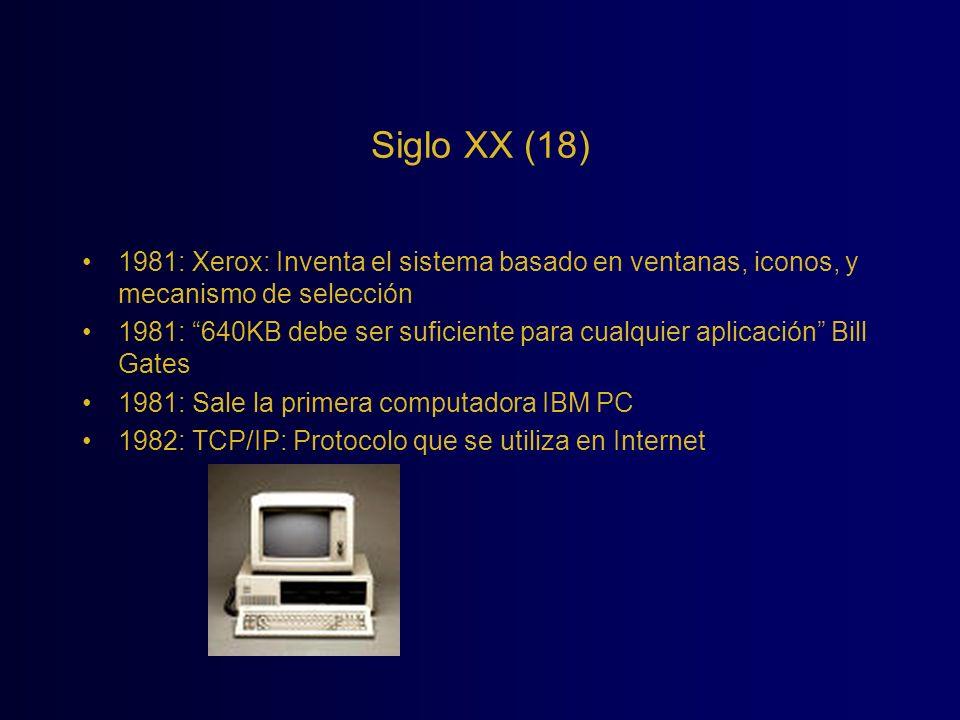 Siglo XX (18) 1981: Xerox: Inventa el sistema basado en ventanas, iconos, y mecanismo de selección.