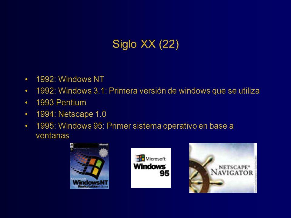 Siglo XX (22) 1992: Windows NT. 1992: Windows 3.1: Primera versión de windows que se utiliza. 1993 Pentium.