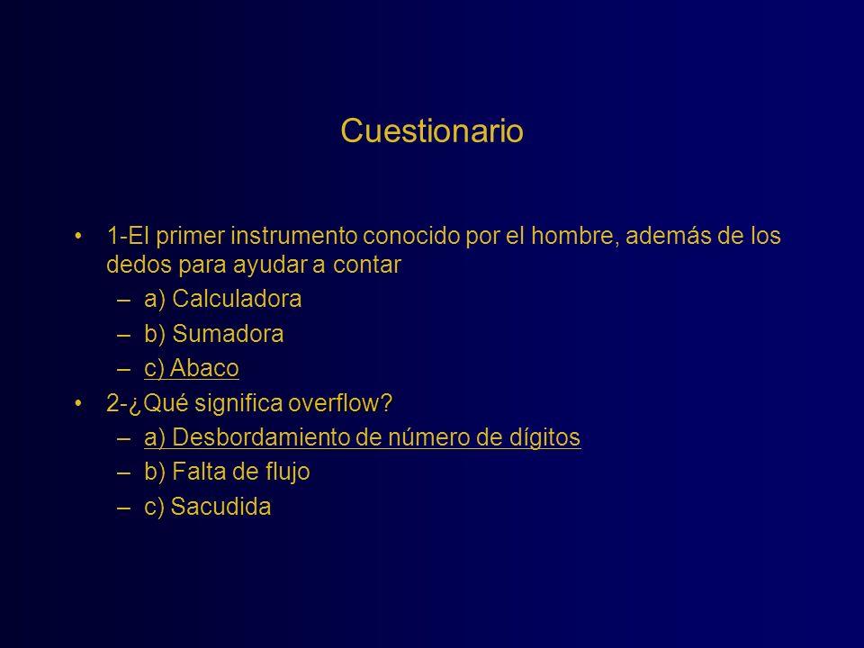 Cuestionario 1-El primer instrumento conocido por el hombre, además de los dedos para ayudar a contar.