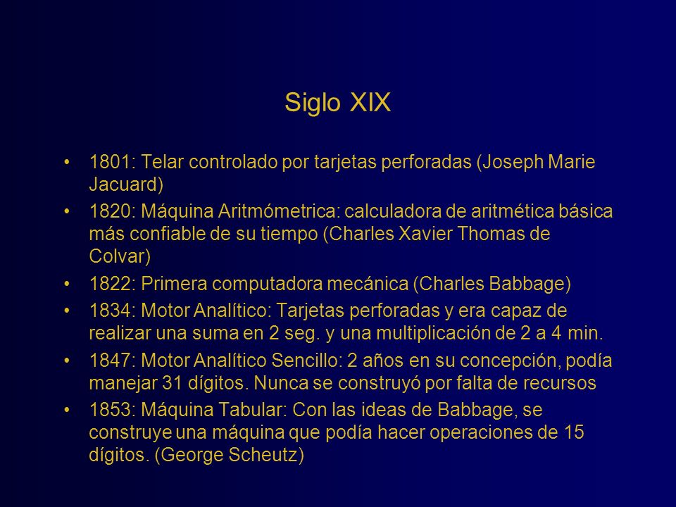 Siglo XIX 1801: Telar controlado por tarjetas perforadas (Joseph Marie Jacuard)