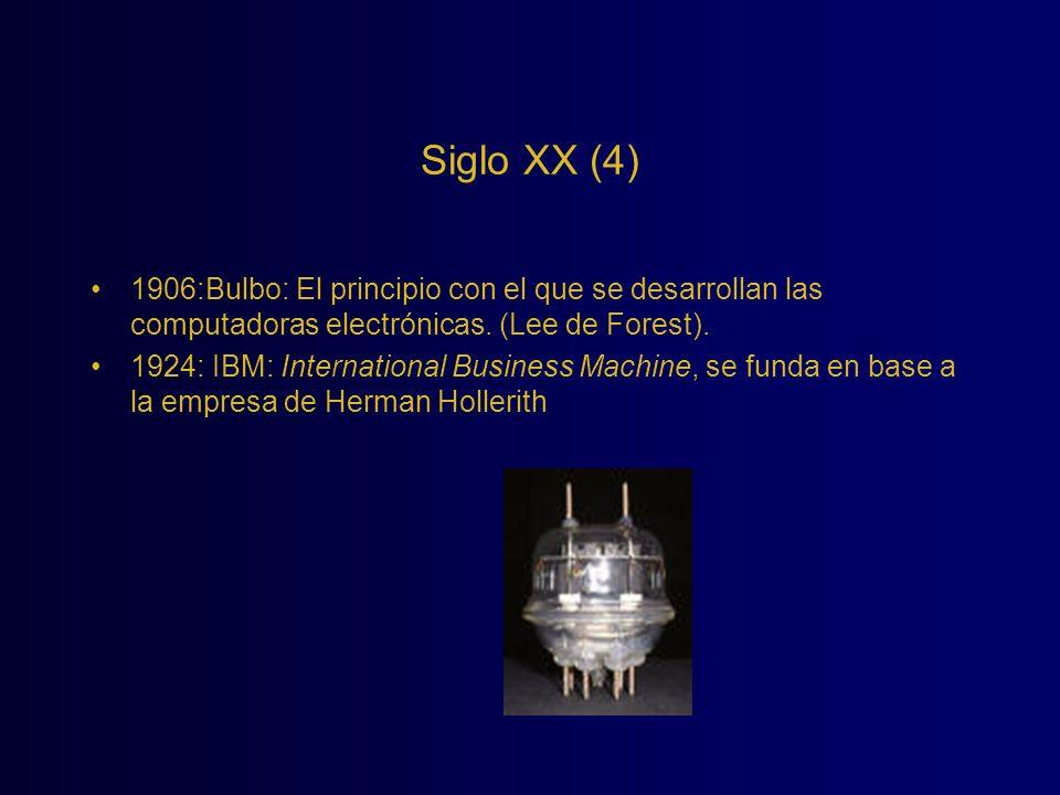 Siglo XX (4) 1906:Bulbo: El principio con el que se desarrollan las computadoras electrónicas. (Lee de Forest).