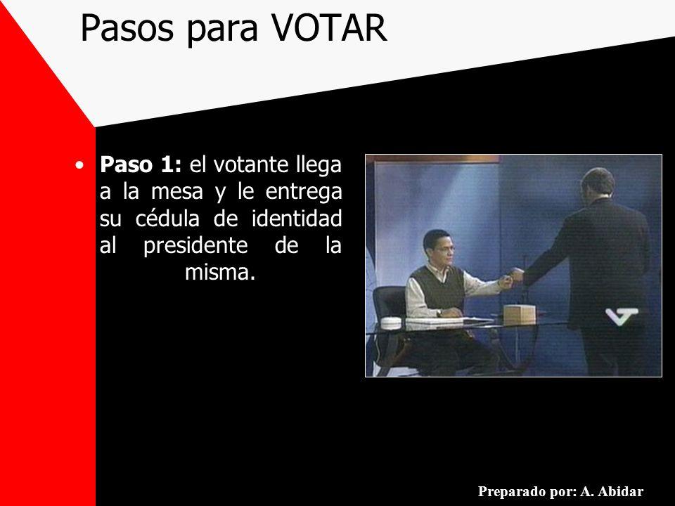 Pasos para VOTAR Paso 1: el votante llega a la mesa y le entrega su cédula de identidad al presidente de la misma.