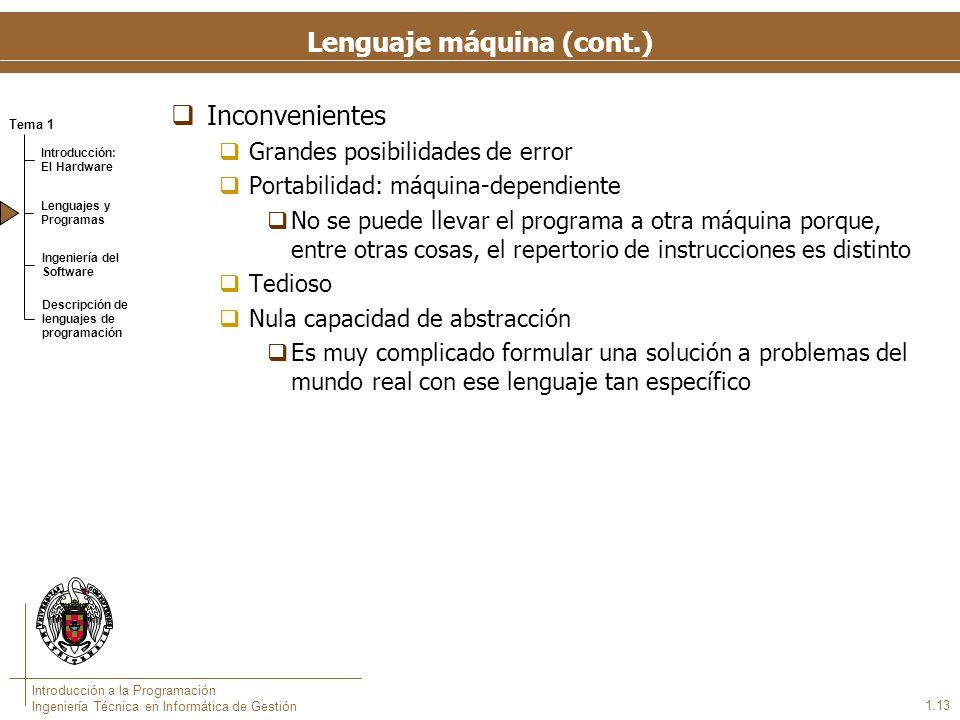 Lenguaje ensamblador Lenguaje simbólico con una mínima capacidad de abstracción. Nombres nemotécnicos para los códigos de operación.