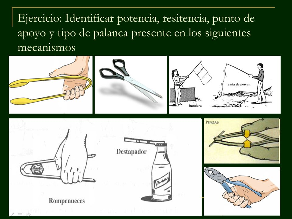 Ejercicio: Identificar potencia, resitencia, punto de apoyo y tipo de palanca presente en los siguientes mecanismos