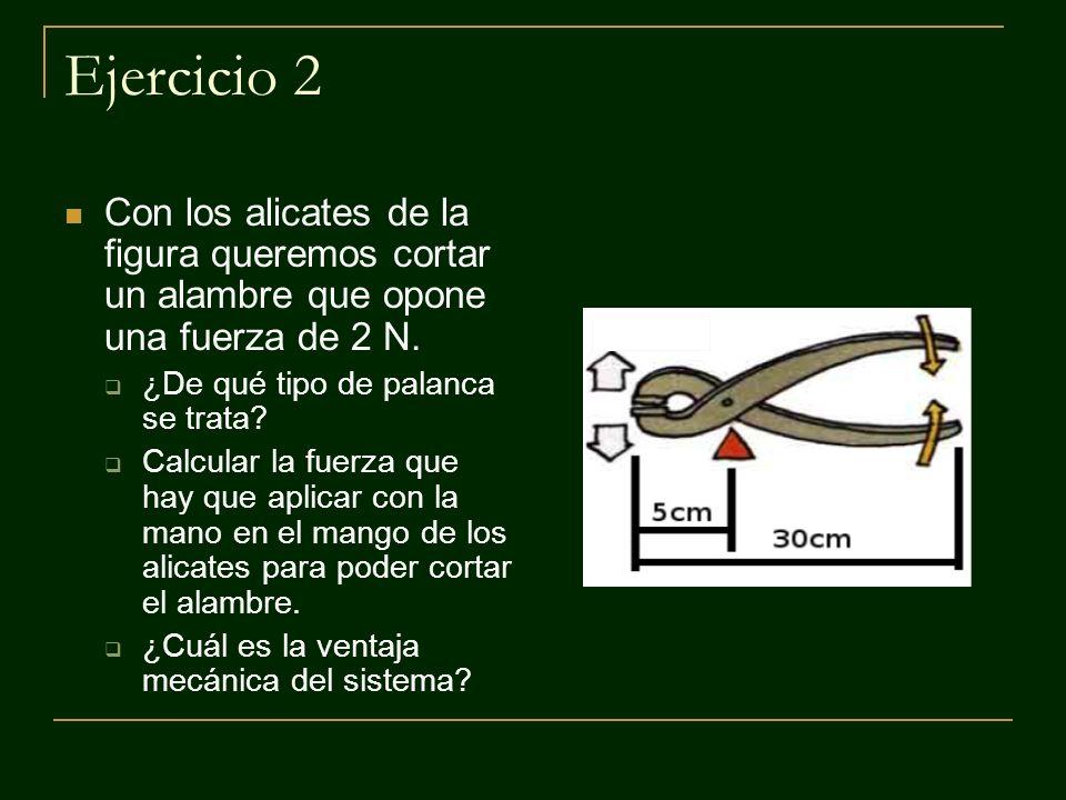 Ejercicio 2 Con los alicates de la figura queremos cortar un alambre que opone una fuerza de 2 N. ¿De qué tipo de palanca se trata