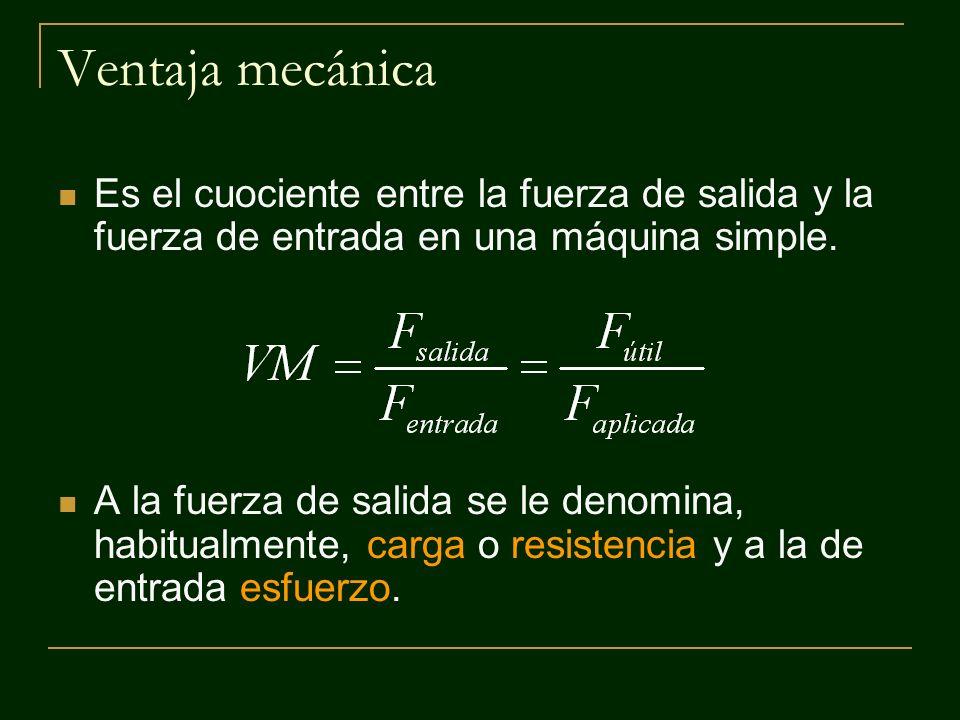 Ventaja mecánica Es el cuociente entre la fuerza de salida y la fuerza de entrada en una máquina simple.