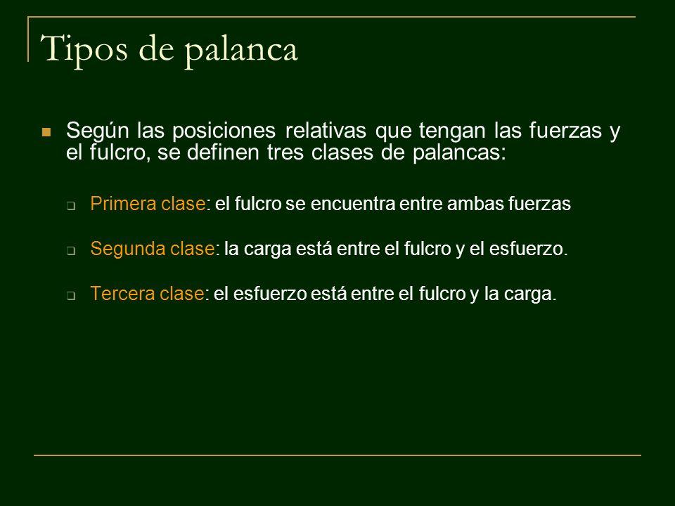 Tipos de palanca Según las posiciones relativas que tengan las fuerzas y el fulcro, se definen tres clases de palancas:
