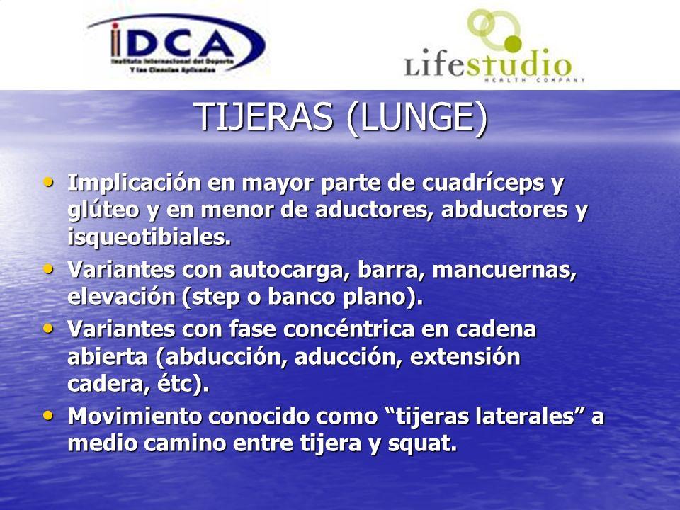 TIJERAS (LUNGE) Implicación en mayor parte de cuadríceps y glúteo y en menor de aductores, abductores y isqueotibiales.