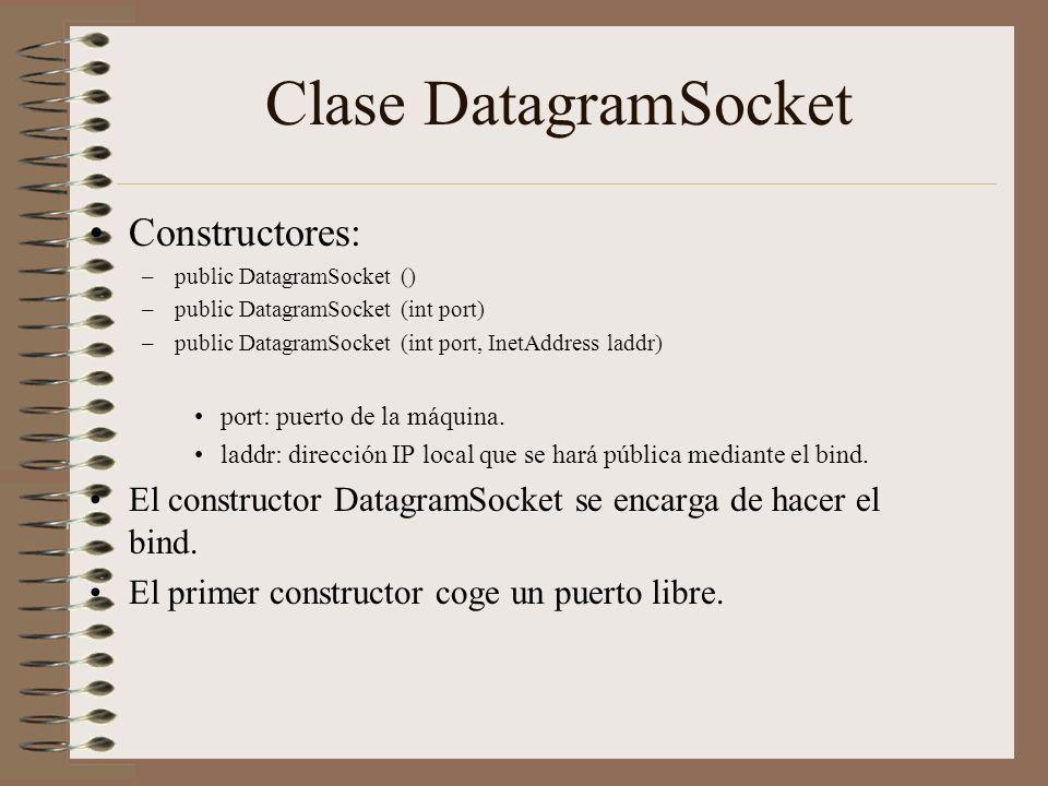 Clase DatagramSocket Constructores: