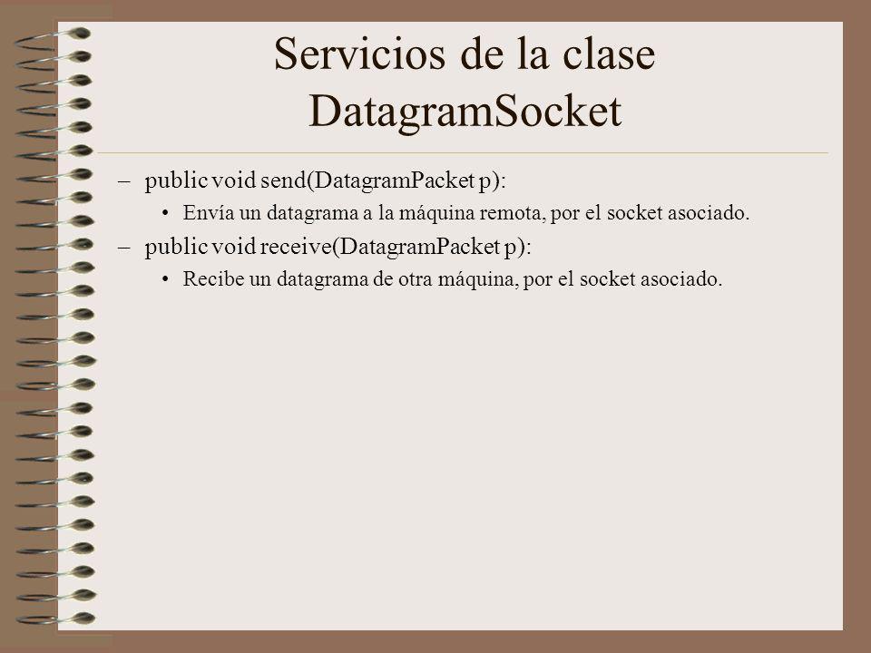 Servicios de la clase DatagramSocket
