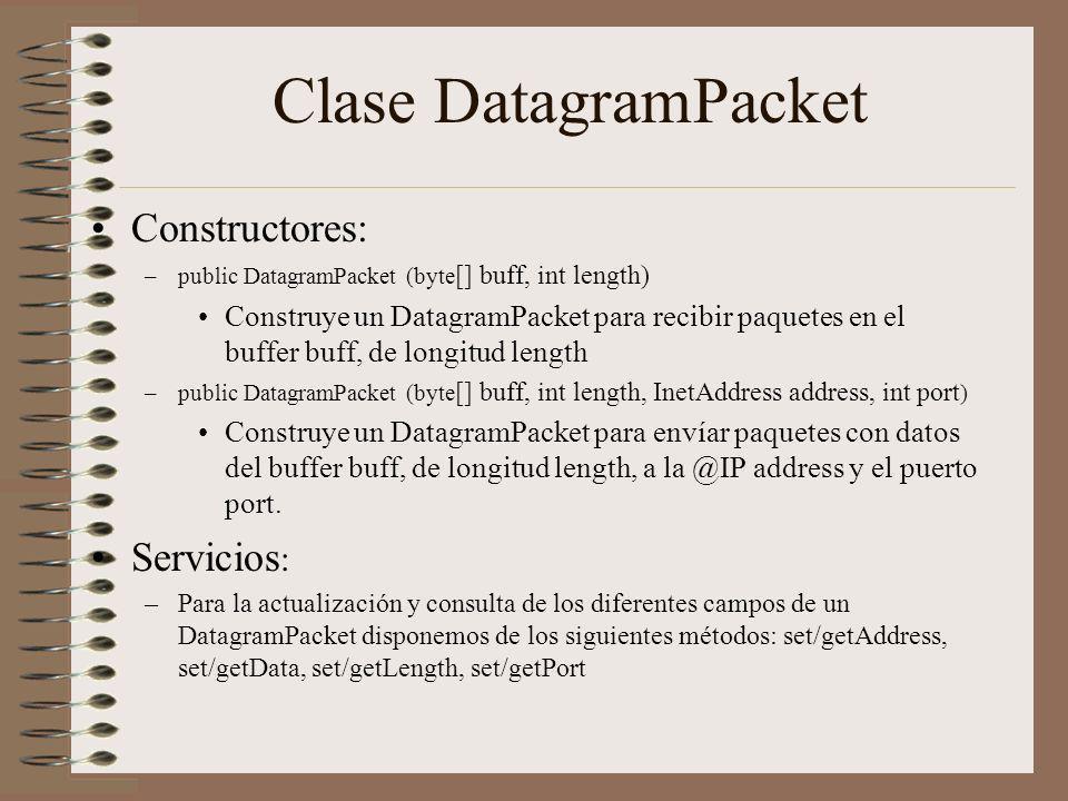 Clase DatagramPacket Constructores: Servicios: