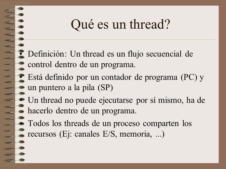 Qué es un thread Definición: Un thread es un flujo secuencial de control dentro de un programa.