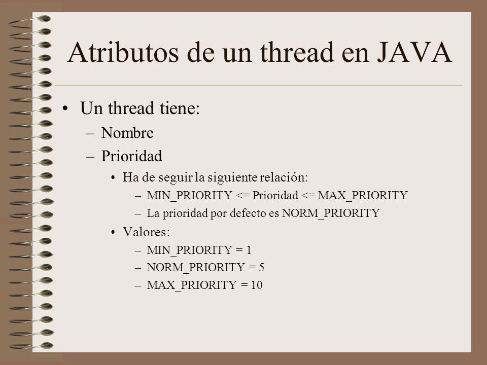 Atributos de un thread en JAVA