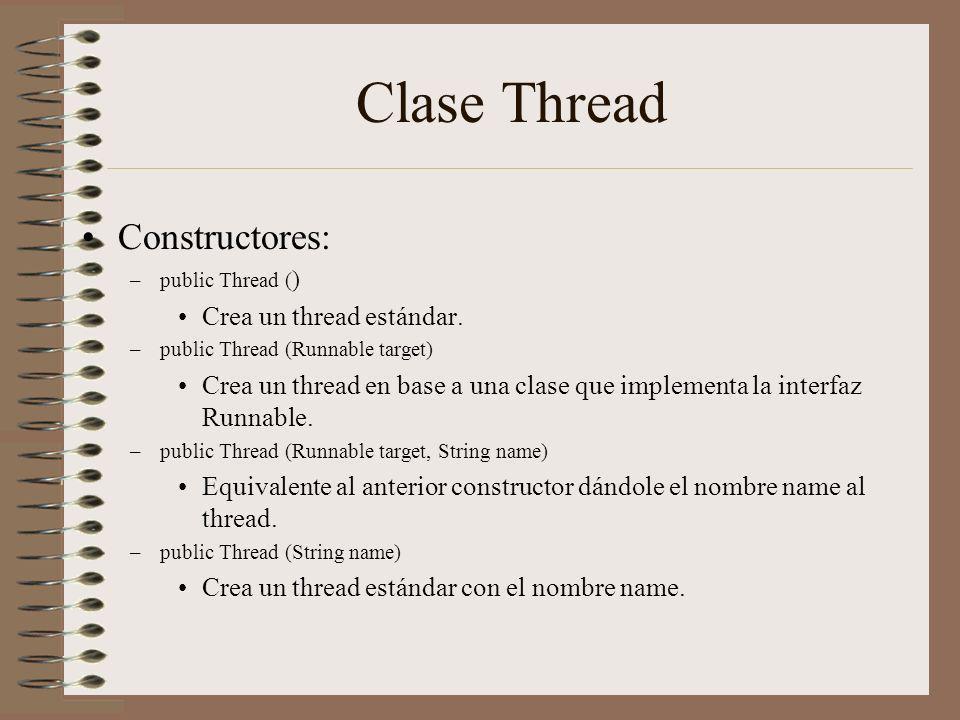 Clase Thread Constructores: Crea un thread estándar.