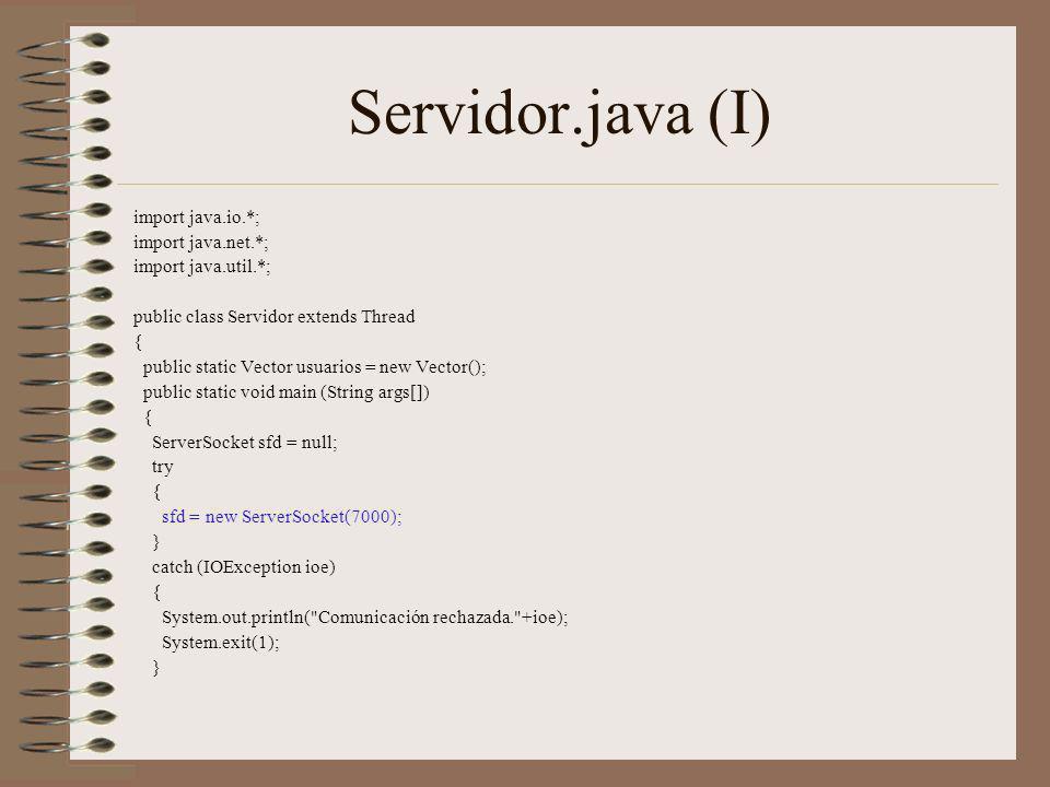 Servidor.java (I) import java.io.*; import java.net.*;