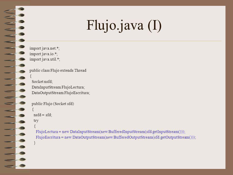 Flujo.java (I) import java.net.*; import java.io.*;