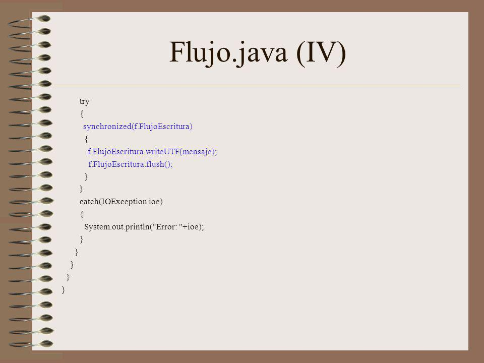 Flujo.java (IV) try { synchronized(f.FlujoEscritura)