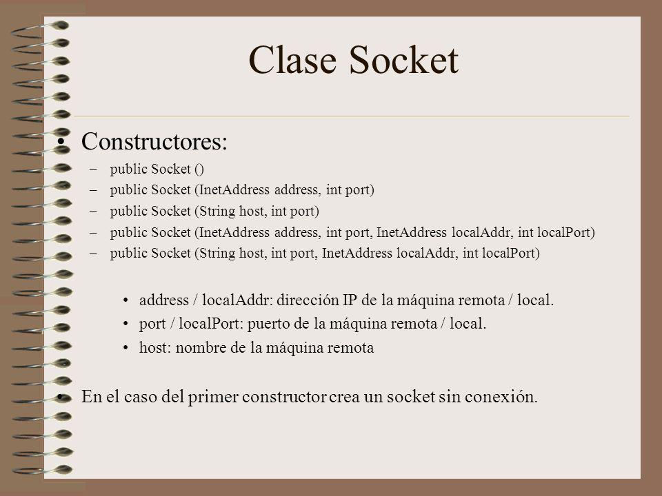 Clase Socket Constructores: