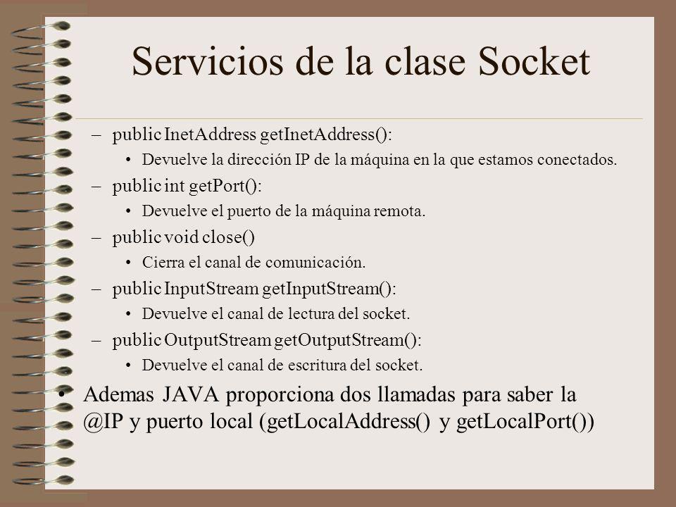 Servicios de la clase Socket
